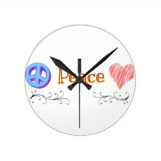 Colección el | de la paz de LuckyStones Reloj Redondo Mediano