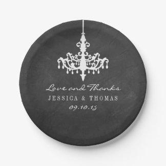 Colección elegante del boda de la pizarra de la platos de papel