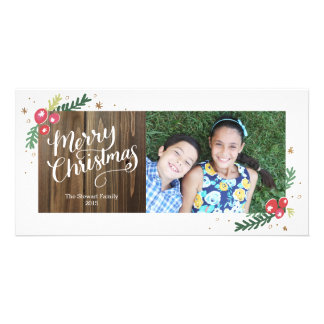 Colección festiva del follaje tarjeta personal con foto