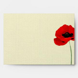 Colección floral del boda de las amapolas rojas de sobres
