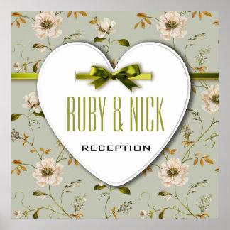 Colección floral del boda del vintage romántico póster