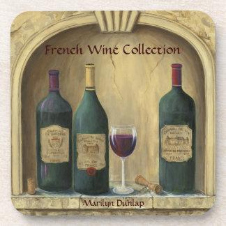 Colección francesa del vino del estado posavasos de bebidas