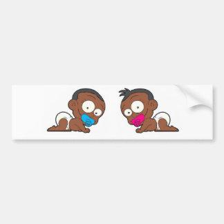 Colección gemela afroamericana del muchacho y del  etiqueta de parachoque