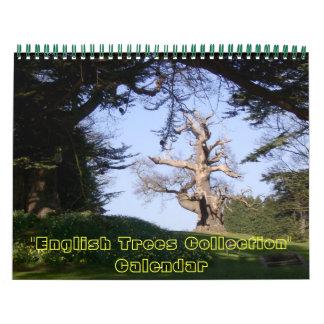 Colección inglesa de los árboles calendario de pared