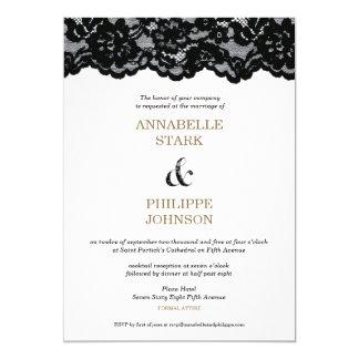 """Colección negra antigua del boda del cordón: invitación 5"""" x 7"""""""