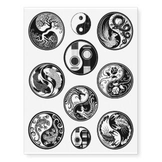 Colección negra única de diez diseños de Yin Yang Tatuajes Temporales