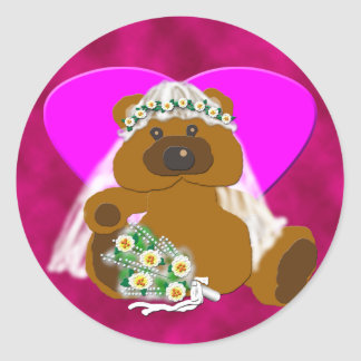 Colección nupcial del oso pegatina redonda