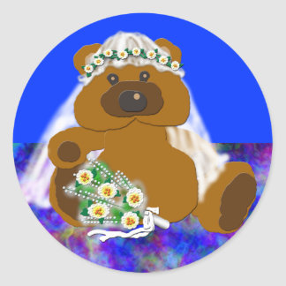 Colección nupcial del oso etiquetas redondas
