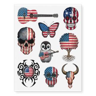 Colección patriótica de las banderas americanas tatuajes temporales