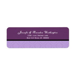 Colección púrpura del boda del damasco del etiqueta de remite