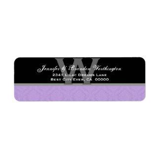 Colección púrpura del boda del damasco del etiqueta de remitente