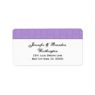 Colección púrpura del boda del damasco del etiquetas de dirección