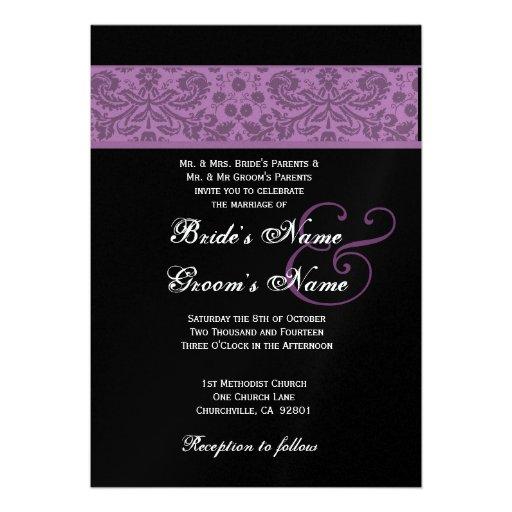 Colección púrpura elegante del boda del damasco de comunicado personalizado