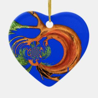 Colección redonda elegante de los azules marinos adorno navideño de cerámica en forma de corazón