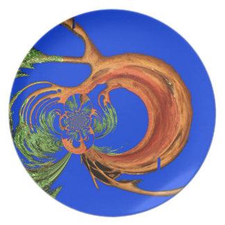 Colección redonda elegante de los azules marinos d plato de cena
