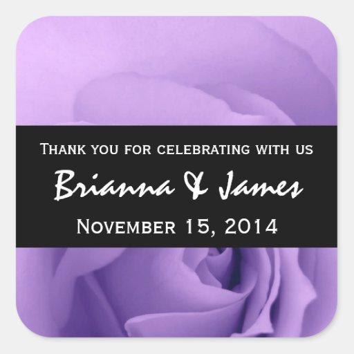 Colección superior color de rosa púrpura soñadora calcomania cuadradas personalizadas