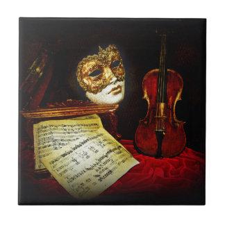 Colección veneciana de las máscaras - noche azulejo cuadrado pequeño