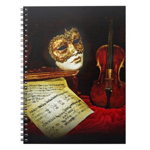 Colección veneciana de las máscaras - noche musica libro de apuntes