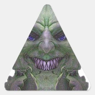Colección verde de la luz del demonio pegatina triangular