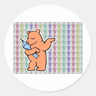 Colecciones berlinesas del oso pegatina redonda