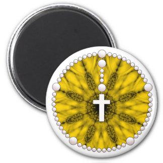 Colector amarillo del sueño del rosario imán redondo 5 cm
