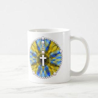 Colector amarillo y azul del sueño del rosario tazas de café