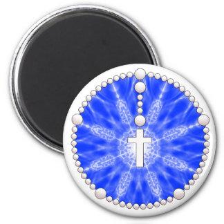 Colector azul del sueño del rosario imán redondo 5 cm