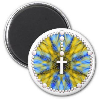 Colector azul y amarillo del sueño del rosario imán redondo 5 cm