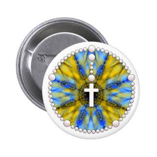 Colector azul y amarillo del sueño del rosario pin redondo 5 cm