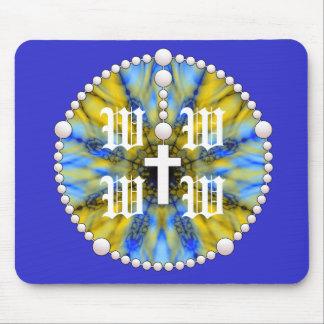 Colector azul y amarillo del sueño del rosario mouse pad