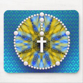 Colector azul y amarillo del sueño del rosario alfombrilla de raton