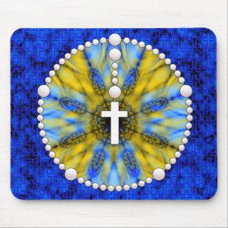 Colector azul y amarillo del sueño del rosario tapete de ratón