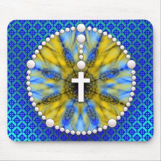 Colector azul y amarillo del sueño del rosario tapetes de ratón