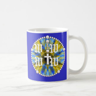 Colector azul y amarillo del sueño del rosario taza básica blanca