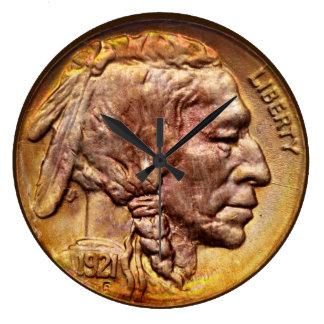 Colector de moneda principal indio de níquel Acryl Relojes De Pared
