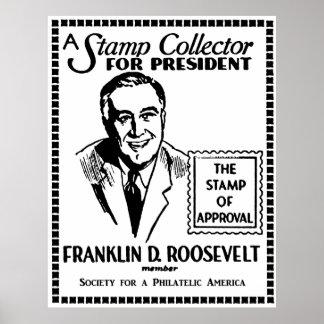Colector de sello 1936 FDR para el presidente Póster