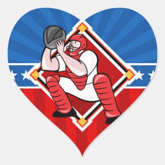 Colector del béisbol pegatina en forma de corazón