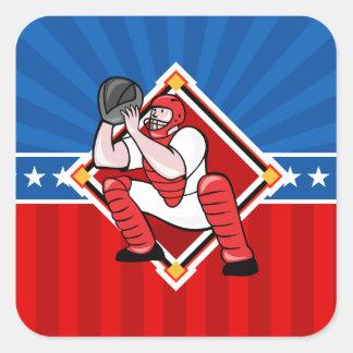 Colector del béisbol pegatina cuadrada