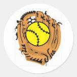Colector del softball pegatina redonda