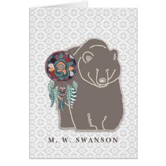 Colector ideal con el nativo americano del oso de tarjeta pequeña