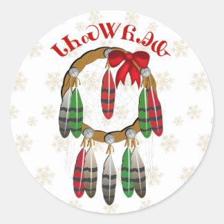 Colector ideal del navidad cherokee pegatina redonda