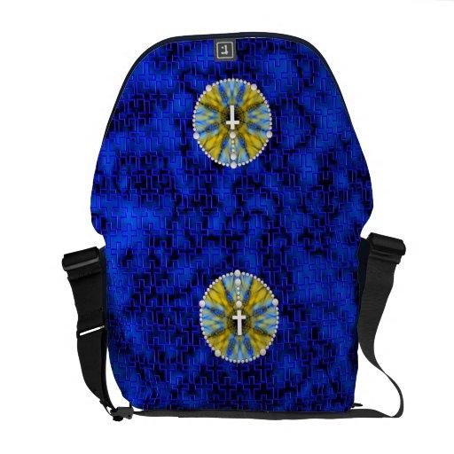 Colector ideal del rosario azul y amarillo bolsas de mensajeria