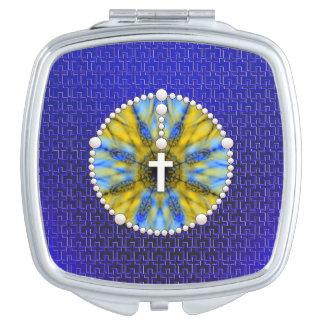 Colector ideal del rosario azul y amarillo espejo maquillaje