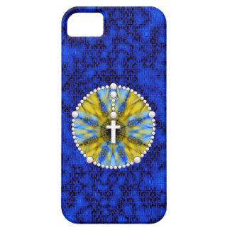 Colector ideal del rosario azul y amarillo funda para iPhone 5 barely there