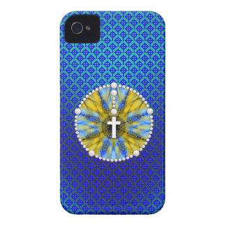 Colector ideal del rosario azul y amarillo iPhone 4 funda