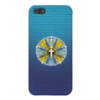 Colector ideal del rosario azul y amarillo iPhone 5 carcasa