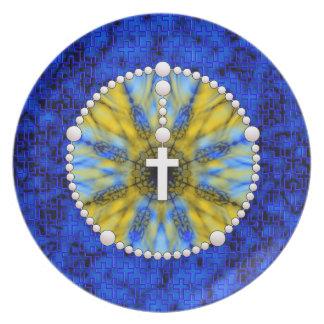 Colector ideal del rosario azul y amarillo platos
