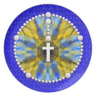 Colector ideal del rosario azul y amarillo platos de comidas