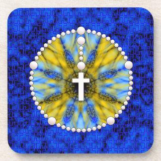Colector ideal del rosario azul y amarillo posavasos de bebidas