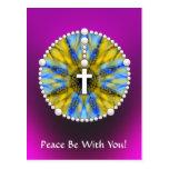 Colector ideal del rosario azul y amarillo postal